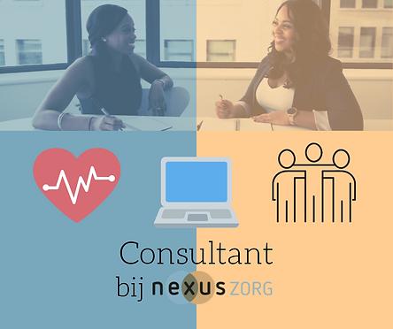 Consultant Zorg Vacature, twee vrouwen kletsen met elkaar aan een tafel, teamwork, computer, zorg, Nexuszorg