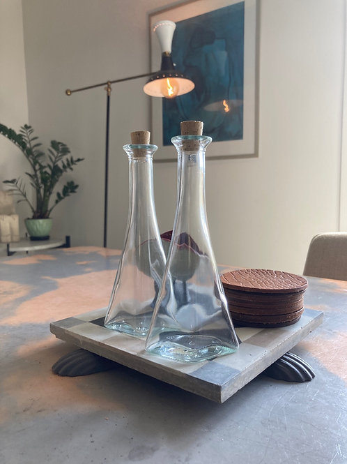 PAIR OF GLASS BOTTLES  200 SEK