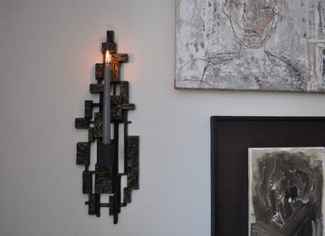 PAIR OF BRUTALIST WALL SCONCES