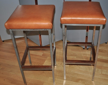 PAIR-OF-LEATHERMETALTEAK-BAR-STOOLS-–-CH