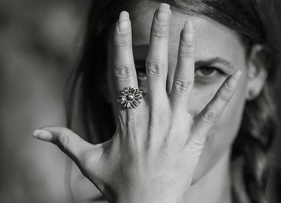 טבעת חמנייה עבודת יד מכסף