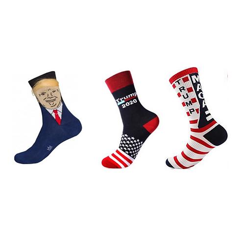 Trump Socks: Trump socks come in three styles: TRUMP MAGA, Trump 2020 and Hair