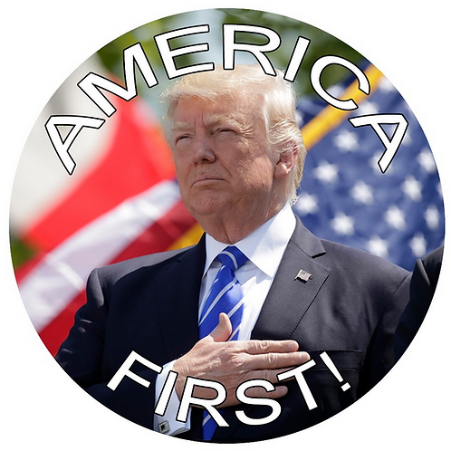 """America First"" metal button (diameter: 3"")"