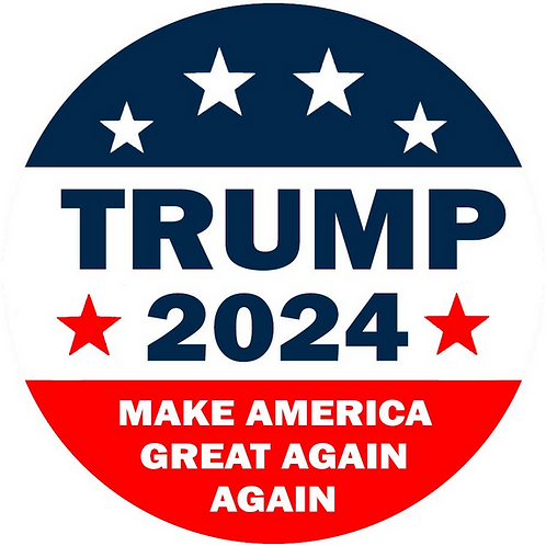 "Trump 2024 Make America Great Again Again button (diameter: 3"")"