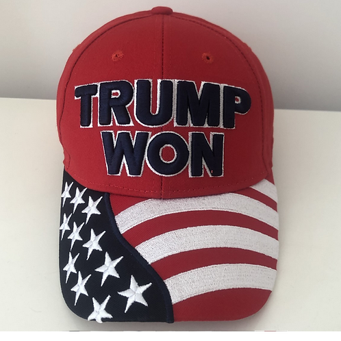 Trump Won American Flag Cap – Available in Red, White, Blue & Black