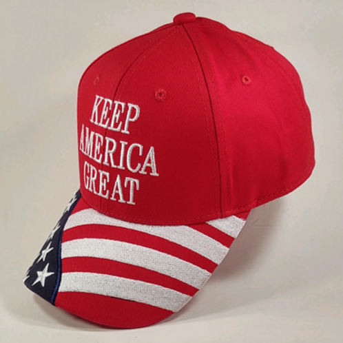 """American Flag """"Keep America Great"""" Cap. Available in Red, White and Blue"""