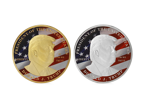 Large Trump American Flag Coin: Comes in Gold or Silver (diameter: 1.6 inches)