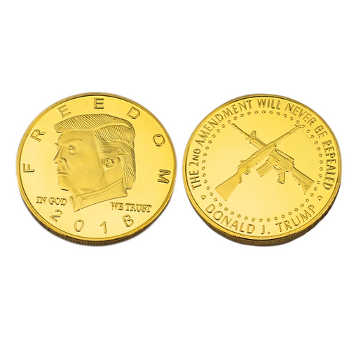 Large Trump 2nd Amendment Coin: Comes in Gold (diameter: 1.6 inches)