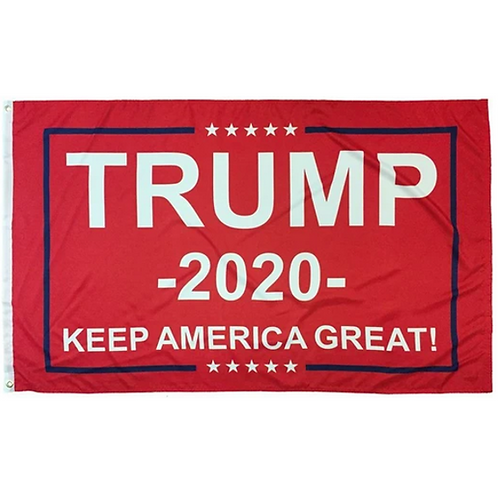 Trump 2020: Keep America Great Banner in Red: 3 ft x 5 ft