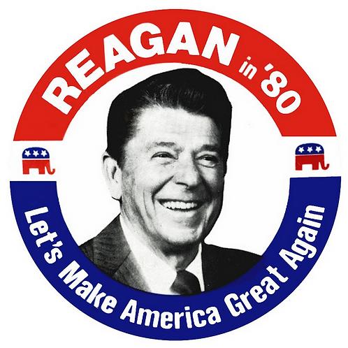 "Reagan '80 Let's Make America Great Again button (diameter:3"")"