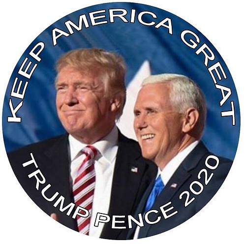 """Keep America Great"" Trump Pence 2020 metal button (diameter: 3"")"
