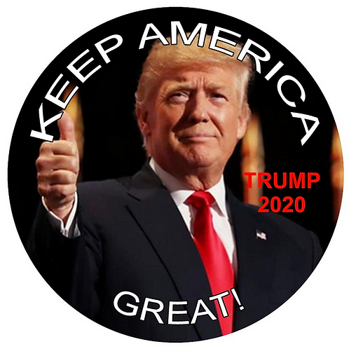 """Keep America Great: Trump 2020"" metal button (diameter: 3 inches)"
