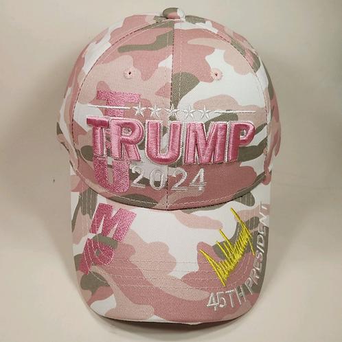 Trump 2024 Signature Camo Cap - Available in Pink Camo & Green Camo