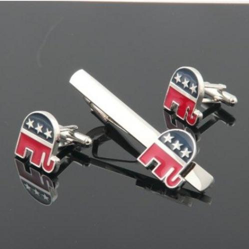 Republican Elephant Cufflink/ Tie Clip Set