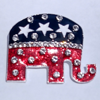 Large Republican Elephant Rhinestone Brooch
