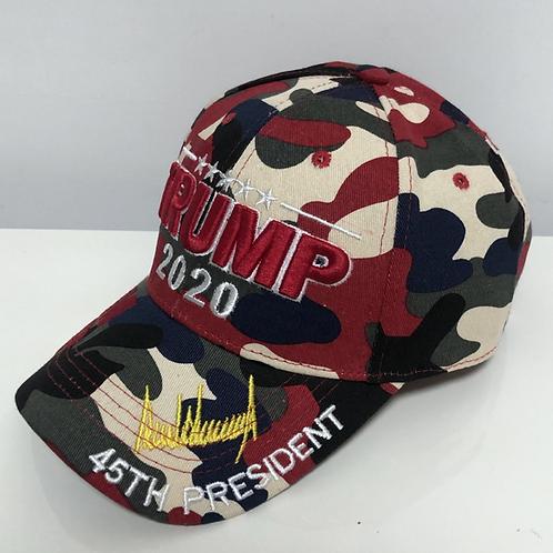 "Trump Signature ""2020"" Camo Cap - Available in Red Camo, Green Camo & Pink Camo"