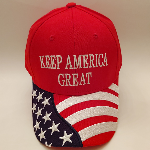 "American Flag ""Keep America Great"" Cap. Available in Red, White and Blue"