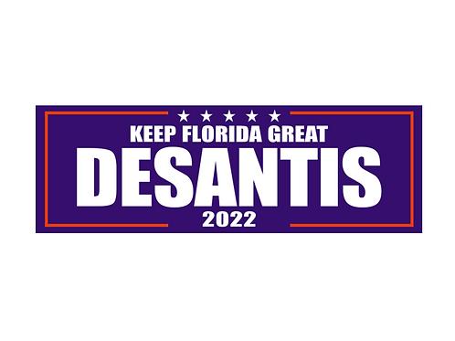 Keep Florida Great DeSantis 2022 Bumper Sticker