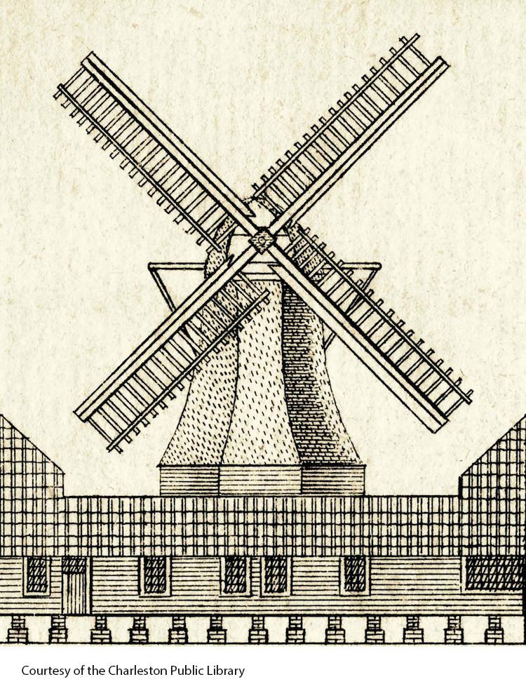 Early South Carolina windmill (Charleston Public Library)