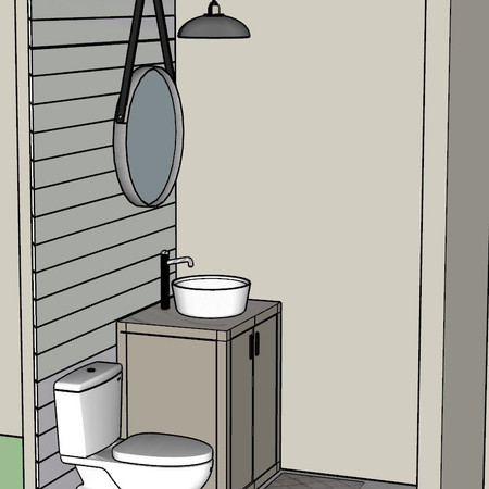 3D Rendered Powder Bathroom