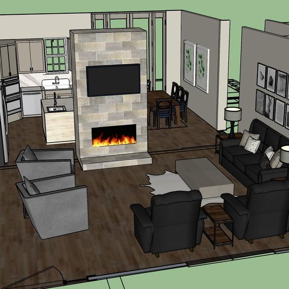 3D Rendered Living Room