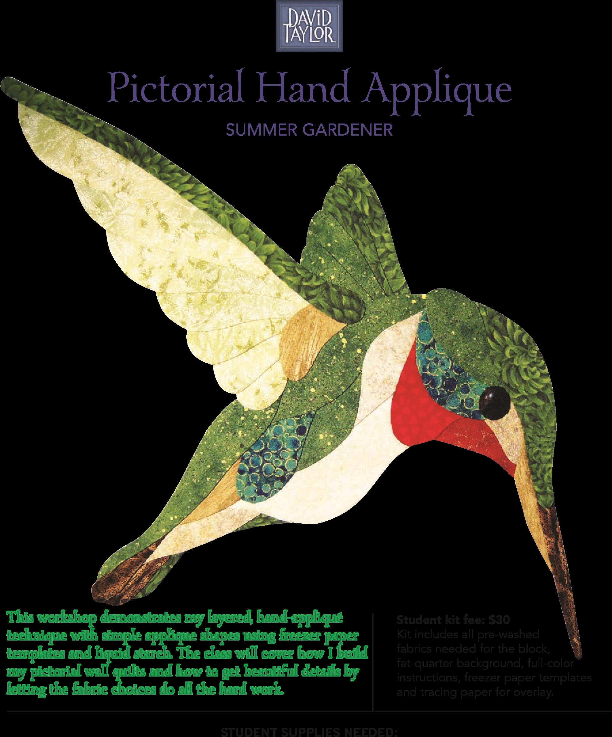 David Taylor Pictorial Hand Applique Summer Gardener