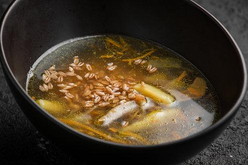 Пoхлебка из алтайских грибов с полбой