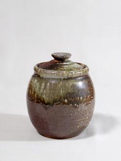 薪窯焼き締め 蓋付壷