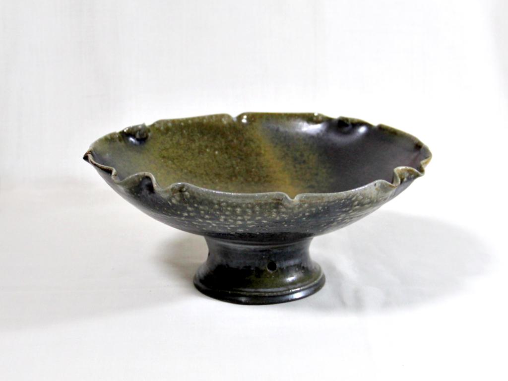 薪窯焼き締め 丸台鉢
