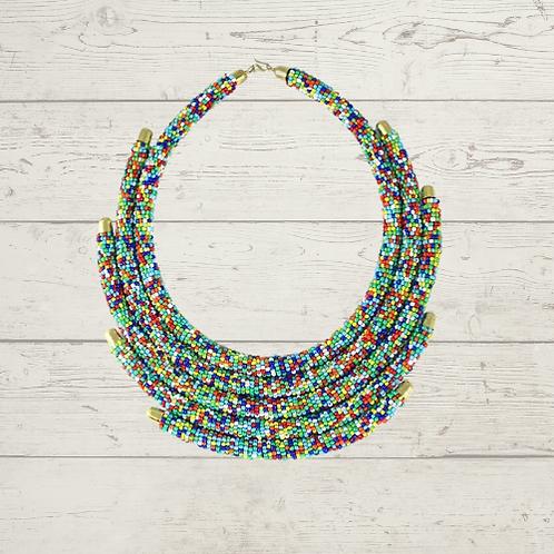 African 5-Row Multi Color Maasai Bead Choker