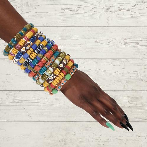 Ghana Trade Bead Bracelet (Set of Three)
