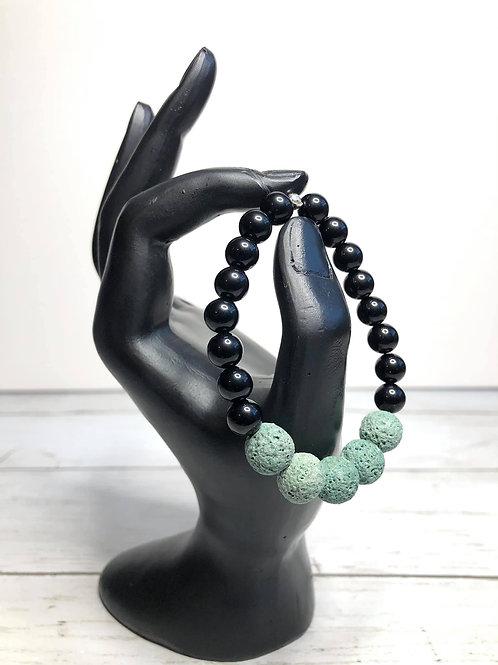 Teal lava stone & black jasper bracelet