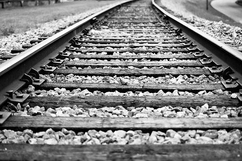 Black & white train tracks