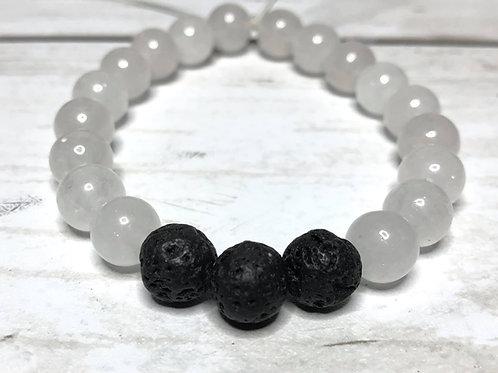 Lava & white quartzite bracelet