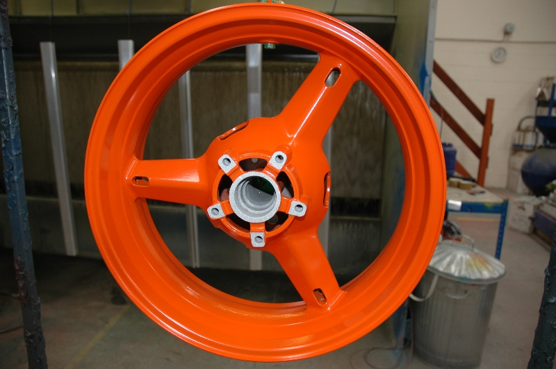 Bike wheel powder coated