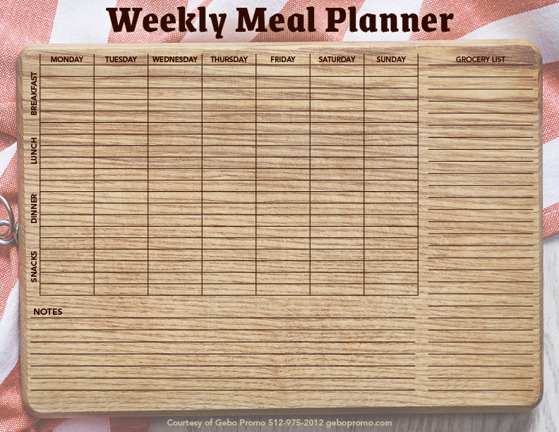 Download a printable PDF file of our meal planner here!