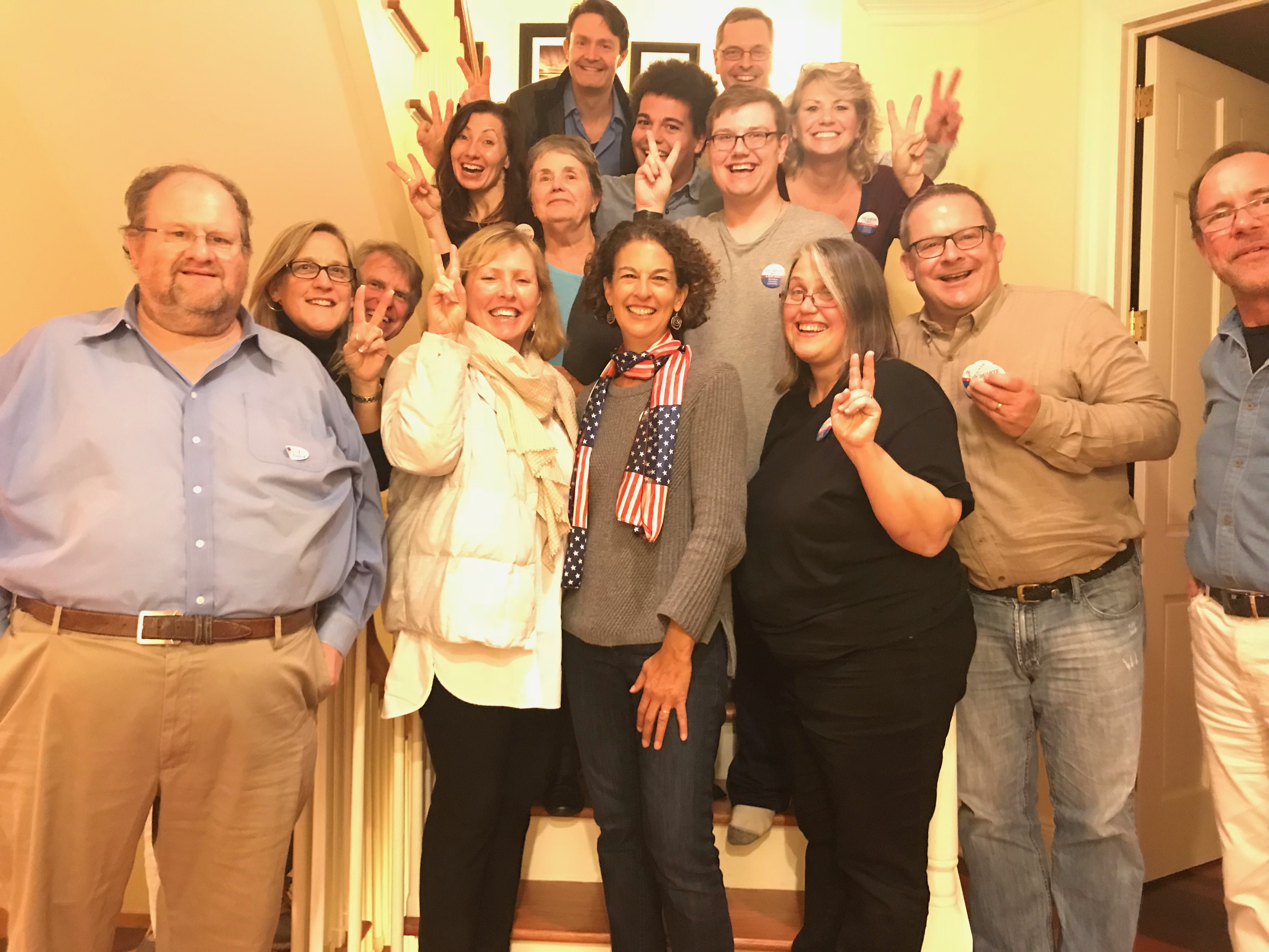 Campaign team celebrating.