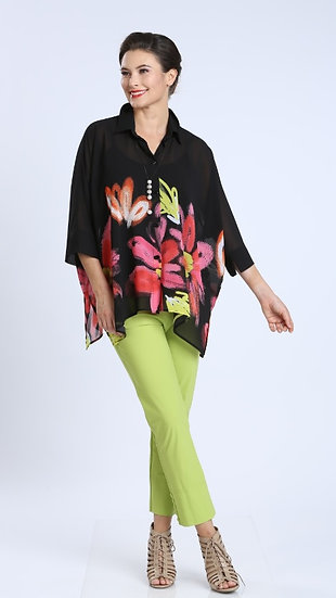 IC COLLECTION #2337B BIG FLOWER BLOUSE
