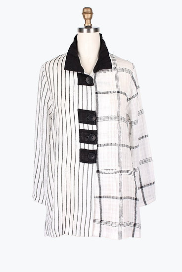 Damee - 4601 Plaid Gauze Jacket