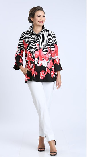 IC COLLECTION #2368J ZEBRA FLORAL JACKET