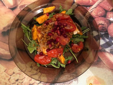 Honey Glazed Feta Salad With Garlicky Lentils And Sweet Potato Wedges