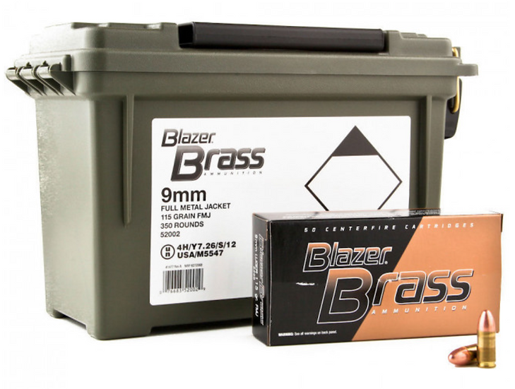 Blazer Brass Ammunition 9mm 115 grain FMJ - 350 Round Can $125.99