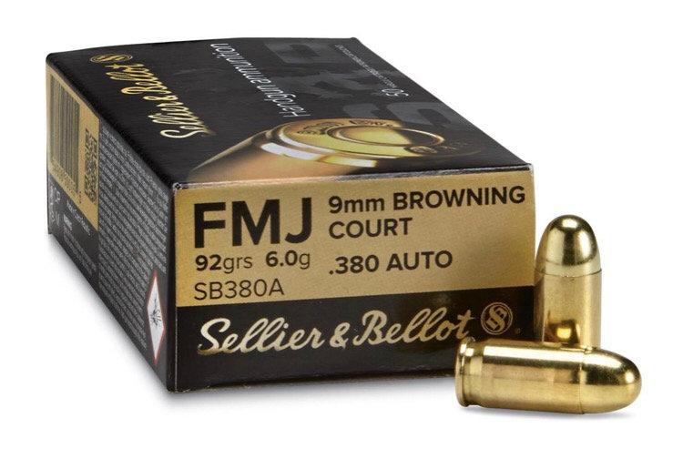 Sellier & Bellot, .380 ACP, FMJ, 92 Grain, 50 Rounds