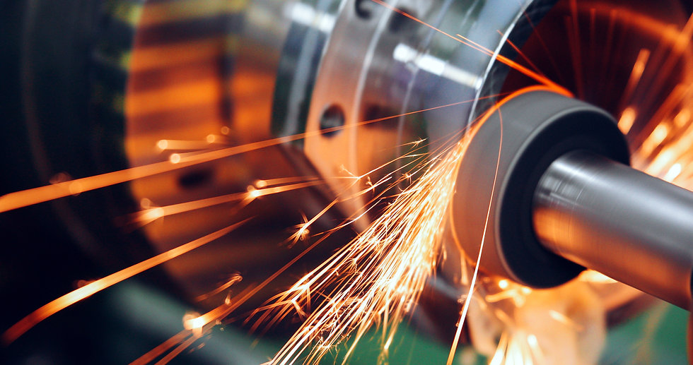 sparks flying while machine griding and