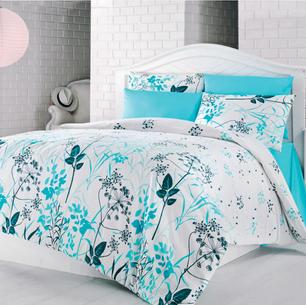 Blue Garden egyszemélyes pamut ágynemű