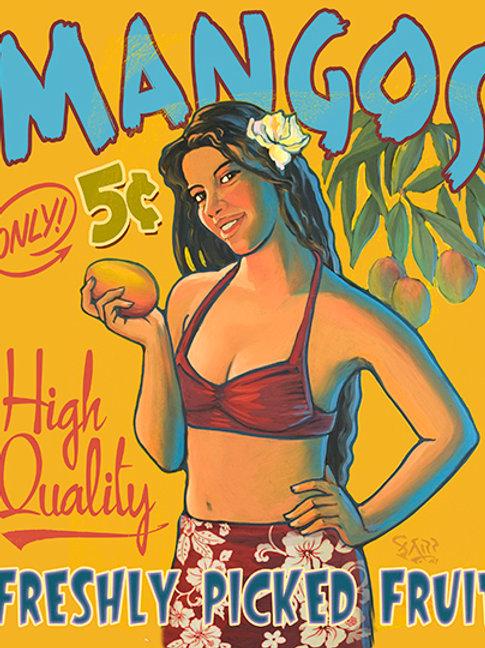 Mangos Vintage Hawaii Tiki Art Print