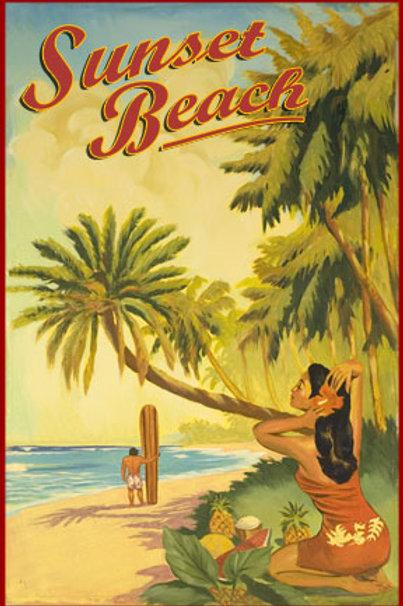 Sunset Beach Oahu Hawaii Vintage Surf Poster Art