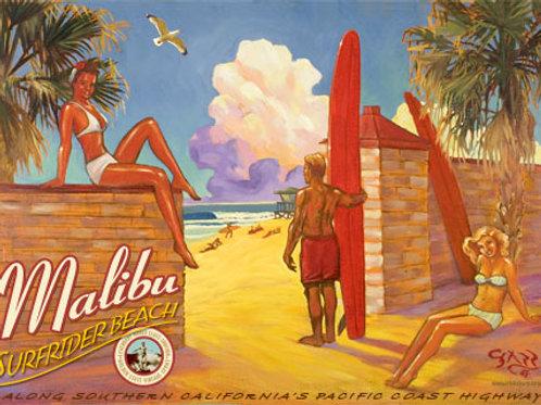 Malibu Surfrider Beach Vintage California Surf Art