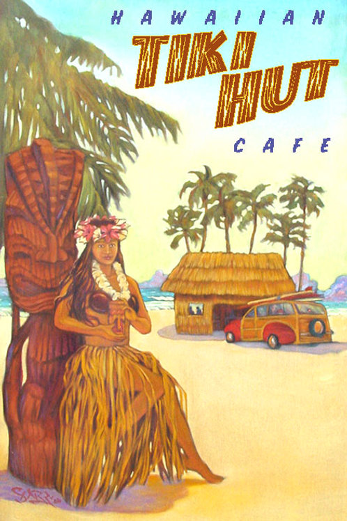 Tiki Hut Vintage Hawaii Art Travel Poster