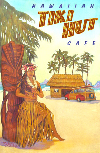 Tiki Hut Vintage Hawaii Art Travel Poster Ricksharpart